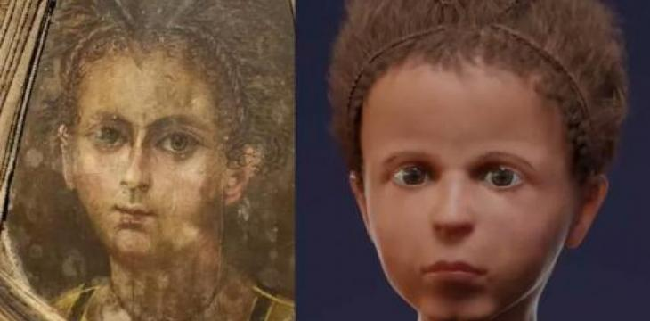 Face of Egyptian Boy Reconstructed Using CT Scanner, Mummy Portrait